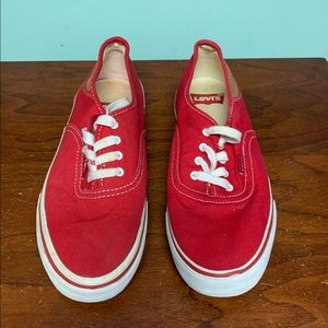 Levi's Low Top Canvas Sneakers Red Size 7 KIDS
